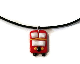 Double Decker Bus Necklace - Double Decker Bus Charm - Bus Charm - London Bus - Polymer Clay Charm - Polymer Clay Jewelry - Leather Necklace