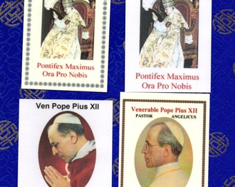 Venerable POPE PIUS XII pack of 4 different relic cards with English prayer for beatification. Postage included for any address!!!