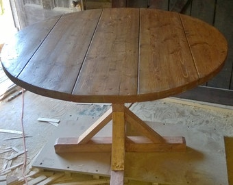 Rustic Round Pedestal Base Table (Reclaimed Wood)