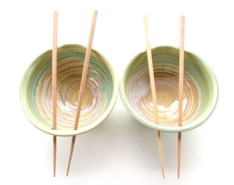 Ceramic Noodle Bowl / Rice Bowl Set with chopsticks
