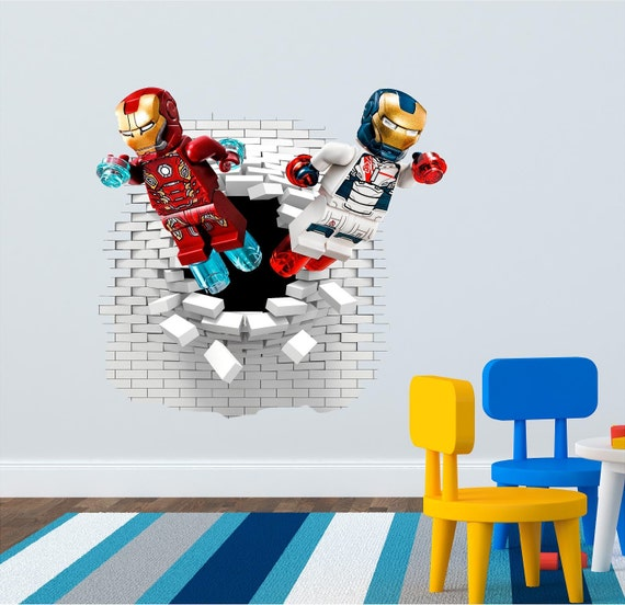 lego iron man wall decal great for the kids room by artogtext star wars poster lego movie wall stickers art for baby