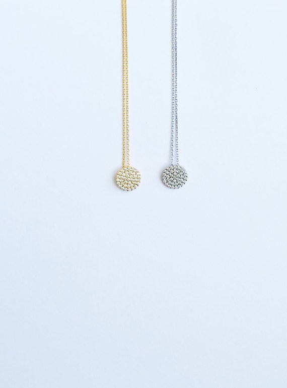 Disc necklace pave with diamonds zirconia in real sterling silver for your big night out or every day glamour, Minimalist elegance