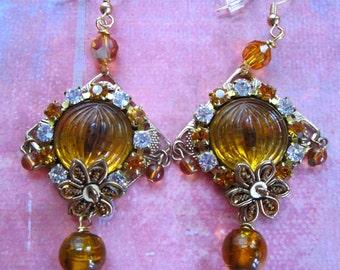 Amber Glow Chandeliers - Pierced Earrings