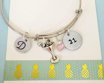 21st Birthday Bracelet, Birthday Jewelry, Hand Stamped Bracelet, Personalized Bracelet, Martini Bracelet