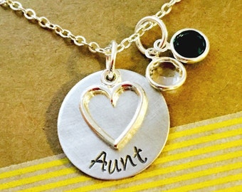 Aunt Birthstone Necklace, Aunt Necklace, Aunt Gift, Aunt Heart Necklace with Birthstones