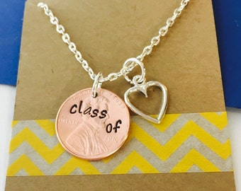 Graduation Penny Necklace- Class of 2016 Necklace Hand Stamped  -Personalized Penny Necklace Graduation Gift Graduation Necklace