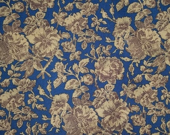 Marcus Bothers Gold Floral on Dark Blue Reproduction Print Fabric Fat Quarters