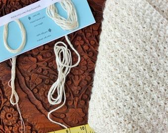 Sample card for pure silk yarns