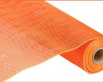 "21"" Orange Wide Foil Deco Mes, Orange Metallic Deco Mesh, Halloween Mesh, Deco Poly Mesh, Sinamay - (10 Yards) - RE104120"
