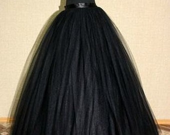 Adult Black long tutu skirt Gothic Floor lenght skirt
