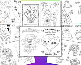 Kids Wedding coloring pages, Kids Wedding Activity Book, Personalized pdf file
