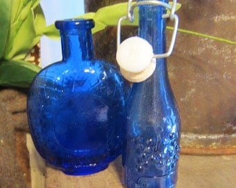 Vintage Blue Bottles - Set of Two