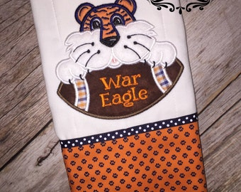 girl or boy auburn war eagle burp cloth rag