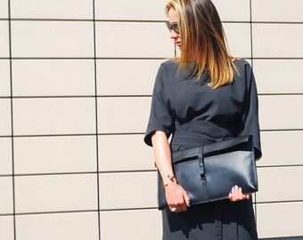 Oversized clutch bag, black genuine leather clutch, ipad bag, clutch bag, black clutch, black bag, womans bag