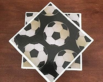 Soccer coasters, sports coasters, ceramic tile coasters, tile coasters, bar coasters, table coasters, drink coasters, set of 4