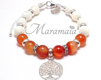 Sacral Chakra Carnelian and Mother of Pearl Sterling Silver Bracelet,valentine bracelet, mothers day, gifts for her, Healing bracelet, Fire