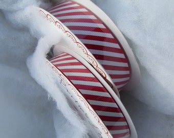 Red and White Candy Stripe Ribbon