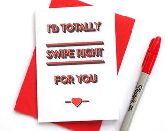 Funny Tinder Valentines Card, Funny Valentines Card, Tinder Swipe Right Card, Funny Boyfriend Valentines Card, Funny Girlfriend Card
