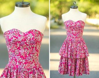 Laura Ashley dress XXS XS hot pink floral junior teen preteen party girls size strapless peplum skirt tiered ruffle mini flower magenta