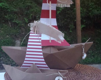 Red and White striped paper boat set