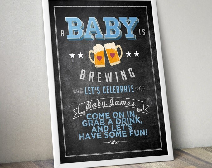 Party welcome sign, Baby is brewing, Coed baby shower,- Beer baby shower- couples baby shower, BBQ