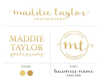 Text logo package gold logo elegant logo photography logo premade logo package