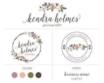 Wreath flower logo custom logo design premade logo package watermark photography logo branding package elegant logo floral logo
