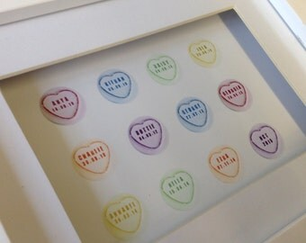 Love heart sweets name and dob personalised digital art