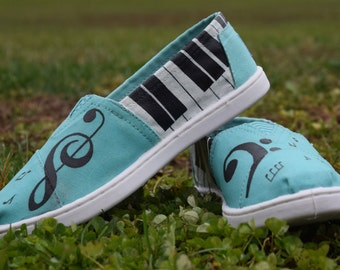 Kids Music Heart Hand-painted classic TOMS shoes