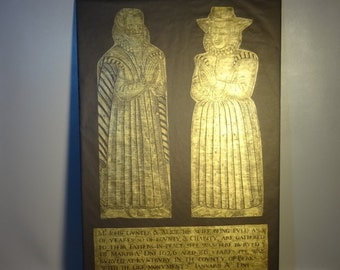 Gravestone Rubbing Of Brass Engraving Of John & Alice Gunter Stratford Upon Avon