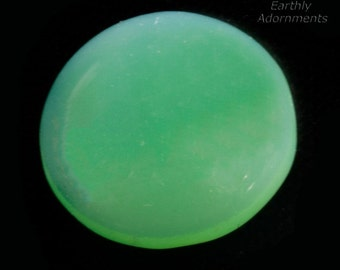 Vintage West German frosted matte celadon green glass cabochon. 18mm. Package of 2. B5-866(e)