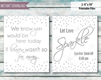 """Wedding signs set of two Sparkler send off Memory Sign, Silver glitter 8""""x10"""" INSTANT DOWNLOAD"""