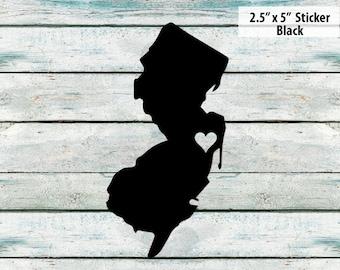 I Love New Jersey Sticker - Black - Jersey Shore