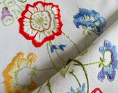 Vintage Linen Square Tablecloth. White Tablecloth with Hand Embroidered Flowers. Unfinished But Ideal For A Tea Party Or As A Craft Project