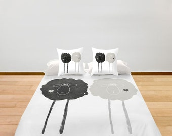 Sheeps Duvet Cover Black and White Twin Full King Queen, Animals Women Bedding Home Gift Apartment Loft Urban Decorative Bedroom Cute Funny