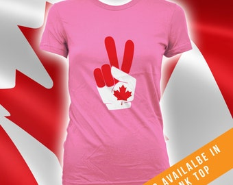Canada Day Peace Sign Tshirt,mens womens t-shirt,canada day t-shirt,mens canada day shirt,womens canada day shirt,canadian apparel - CT-488