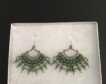 Handmade Beaded Earrings with Green Round Beads