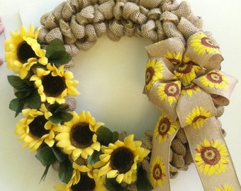 Burlap Wreath, Sunflower Decor, Door Wreath, Sunflower Wreath, Year Round, All Season, Sunflowers, Burlap, Rustic, Summer Wreath, Yellow
