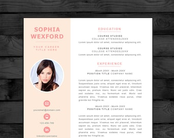 Resume Template / CV Template With Photo, PC U0026 Mac, Free Cover Letter,