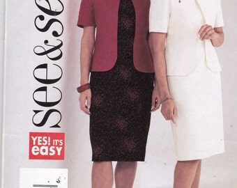 See and Sew 3818 Vintage Pattern  Womens Lined Jacket and Dress Size  18,20, 22 UNCUT