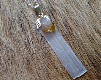 Silver Selenite with Citrine Necklace