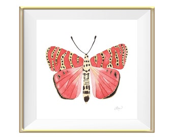 Peachy Pink Beautiful Butterfly Watercolor Art Print - Home Decor / Wall Art