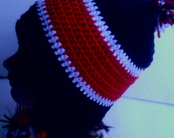 Black,white and red crocheted earflap hat