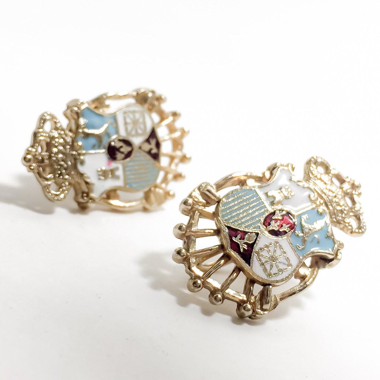 vintage coro screw back earrings shield by