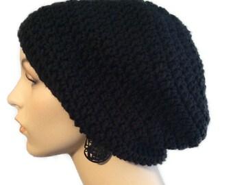Black beanie // black slouchy hat // handmade crochet black slouch beanie // mens womens