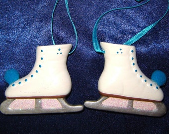 Pair of Ice Skate Ornaments in Deep Turquoise - Skating Ornaments - Christmas Ornaments - Ceramic Ornaments - Skates