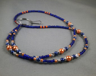 "Unique beaded breakaway lanyard necklace with bead chain 32"" to 42"" long leash , magnetic , toggle or no clasp , Broncos team colors , cute"