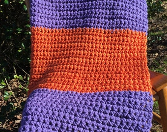 Crocheted Chunky Throw Blanket- Orange and Purple