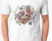 Fox T-shirt, Fox Art Men's Tee, Fox Art Women's Tee, Indy Fox Art, Whimsical Art, Spirit Animal Fox Tee, Organic T-Shirt, Eco-friendly Tee