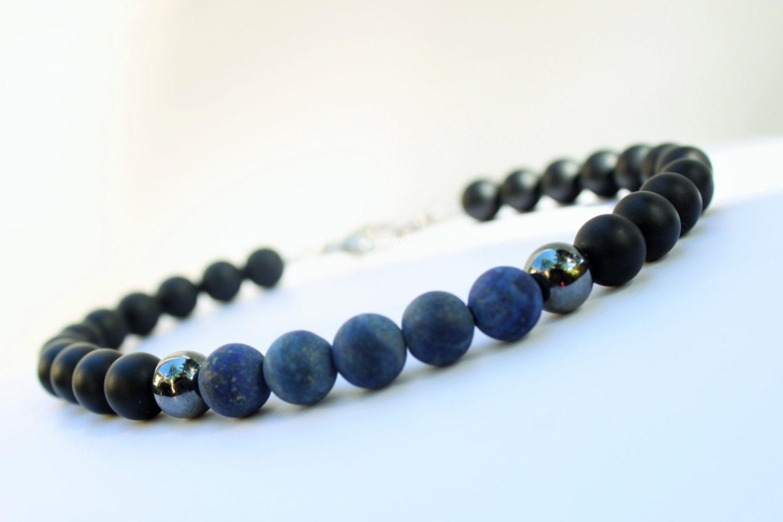 mens beaded bracelet blue lapis lazuli beaded bracelet